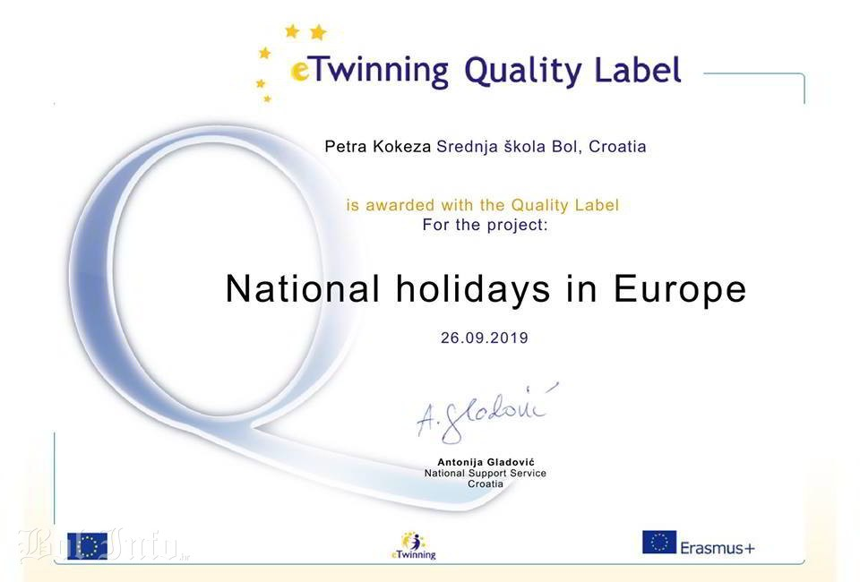 eTWINNING National holidays in Europe